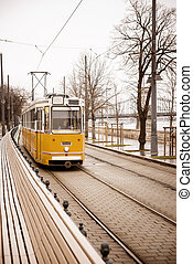 tram - old yellow tram in Budapest