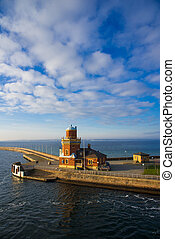 lighthouse on the shores of the Oresund Strait in...