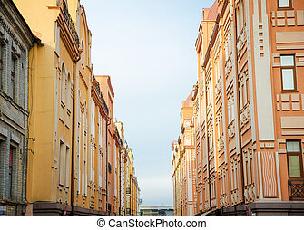 buildings - walls of old buildings in the historic district...