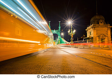 Liberty Bridge at night in Budapest