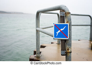 sign prohibiting jump into the water