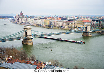 Chain Bridge - Hungarian Parliament Building and Chain...