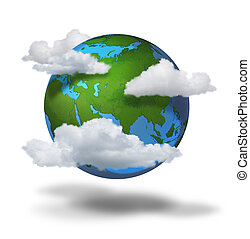Climate change concept ,planet earth with clouds covered...