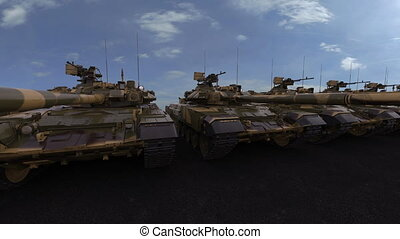New military tanks with green and yellow camouflage painting. Seamless loopable 4K clip