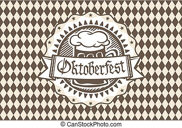 Vector logo for Oktoberfest in the pub or bar during the...