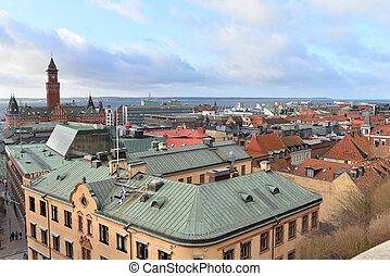Helsingborg - top view of the Helsingborg city center