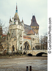 Vajdahunyad Castle in Budapest at day in the autumn