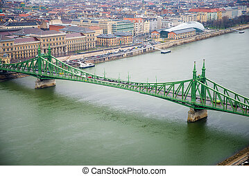 Liberty Bridge - top view of the Liberty Bridge at day in...