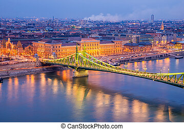 Liberty Bridge at night in Budapest in the autumn