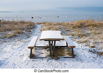 bench - An empty bench on the beach in winter