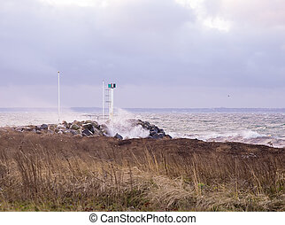 storm in the Strait of Oresund at day