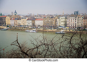 Budapest - top view of Budapest, Pest shore at day