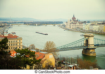 Parliament Building and Chain Bridge - Hungarian Parliament...