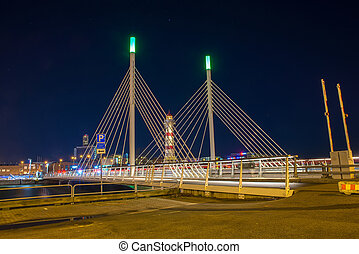 lighthouse and bridge in night Malmo