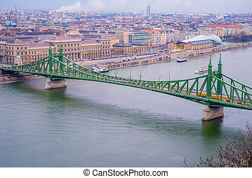 Liberty Bridge at twilight in Budapest in the autumn