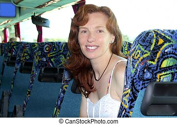 happy woman tourist traveling bus indoor expression