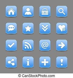 Blue satin icon web button with white basic sign - 16 blue...