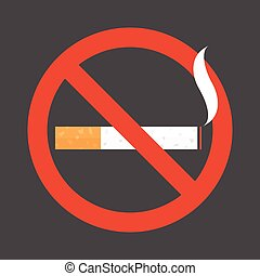 Non smoking area sign symbol, flat design