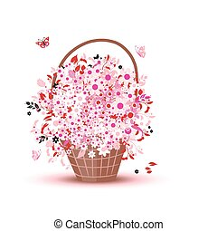 Basket with flowers for your design