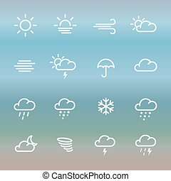 Lines weather forcast Icon set on gradient. Simple vector...