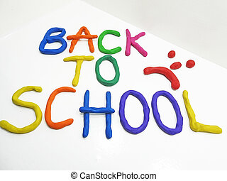 Back to school phrase made from plasticine.