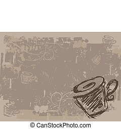 Cup of tea, grunge background for your design