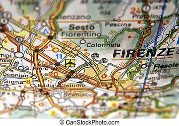 Map of Firenze in Italy