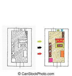 Interior design apartments - top view. Ragged lines, sketch...