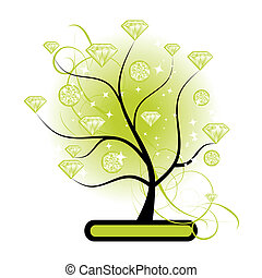 Art tree with diamonds green for your design
