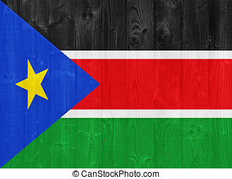 South Sudan flag painted on a wood plank texture