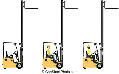 Forklift - Three wheel electric counterbalance forklift on a...