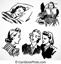 Vector Vintage Women at Home - Vintage vector advertising...