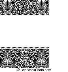 Vector Damask Pattern and Frame