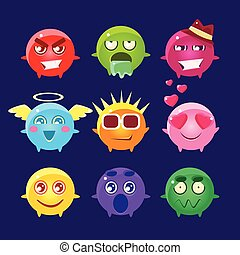Collection Of Round Character Emoji IconsCute Emoticons In...