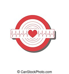 Vector medical illustration with emblem of tachycardia Flat...