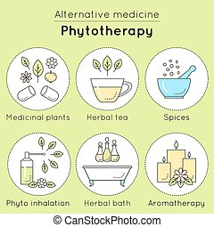 Vector set of phytotherapy linear icons Medicinal plants,...