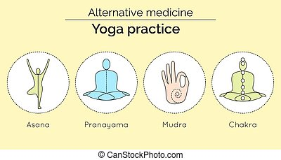 Set of vector yoga icons in linear style. Yoga practice as a...
