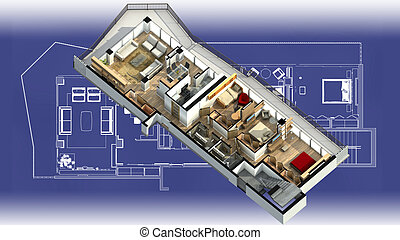 Apartment interior on a blueprint - 3D illustration of a...