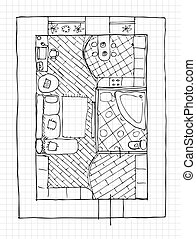Interior design apartments - top view