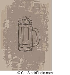 Beer mug, grunge background for your design