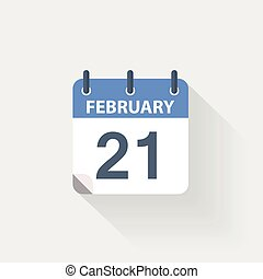 21 february calendar icon on grey background