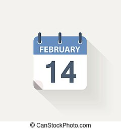14 february calendar icon on grey background