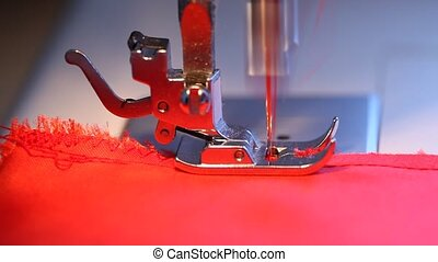 Domestic sewing machine - Closeup of a domestic sewing...