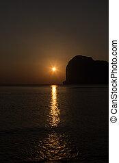 Sunset at Pak-Meng Beach of Trang - Thailand - Meng Mountain...
