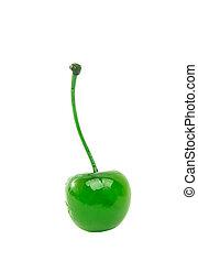 green maraschino cherry - maraschino cherry on a white...