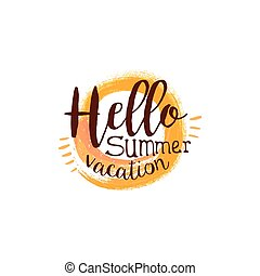 Hello Summer Message Watercolor Stylized Label With Sun