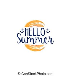 Hello Summer Message Watercolor Stylized Label