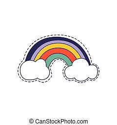 Rainbow Arch Bright Hipster Sticker With Outlined Border In...