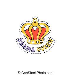 Drama Queen Crown Bright Hipster Sticker With Outlined...