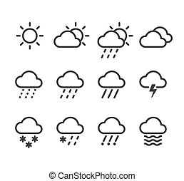 weather icons set - Weather icons set. 12 isolated line...
